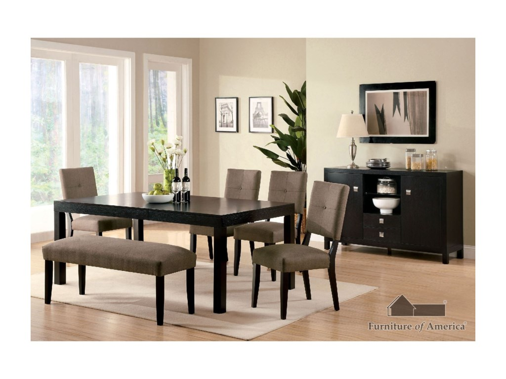 Furniture of America Bay Side ITable + 4 Side Chairs + Bench