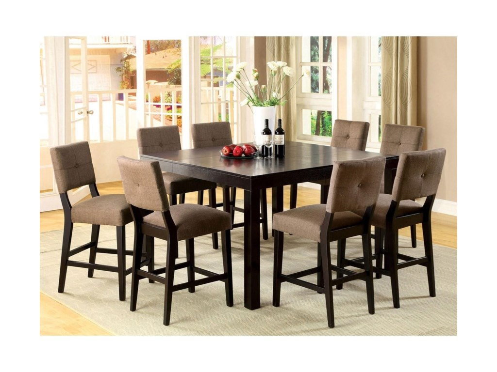 Furniture Of America Bay Side II 9 Piece Counter Height Dining Set