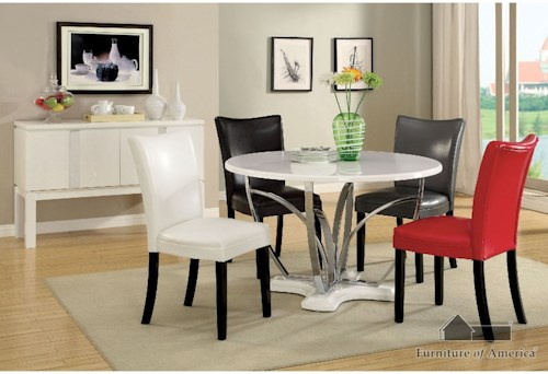Furniture of America Belliz Table + 4 Chairs (Black, Or Red)