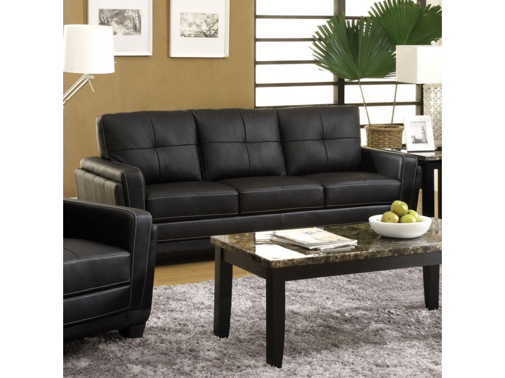 Blacksburg Contemporary Faux Leather Tufted Sofa by Furniture of America at  Dream Home Interiors