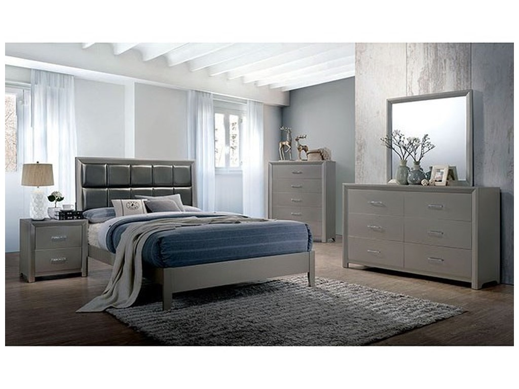 Blythe Contemporary King Bed with Upholstered Headboard by Furniture of  America at Rooms for Less