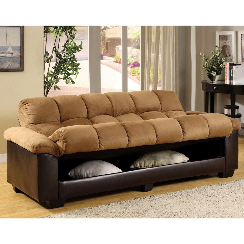 Furniture Of America Brantford Convertible Microfiber Sofa Bed With
