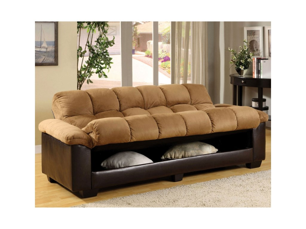 Brantford Convertible Microfiber Sofa Bed with Under-Seat Storage by  Furniture of America at Rooms for Less