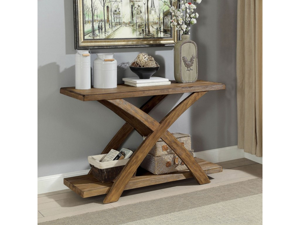 Bryanna Rustic Sofa Table by Furniture of America at Furniture Superstore -  NM