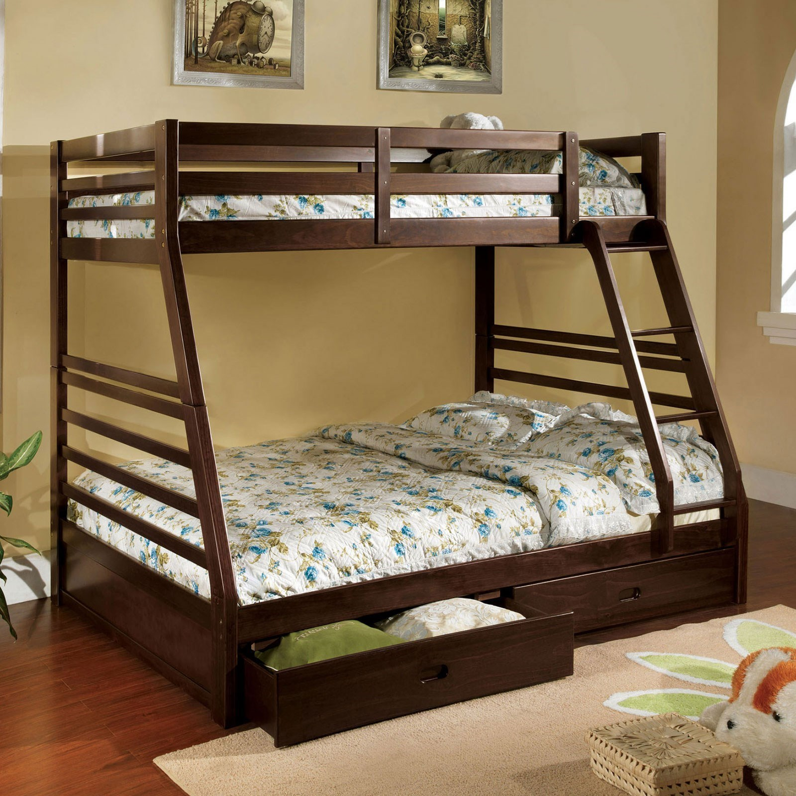 Picture of: Furniture Of America California Iii Cm Bk588ex Bed Twin Over Full Bunk Bed With 2 Drawers Sam Levitz Furniture Bunk Beds