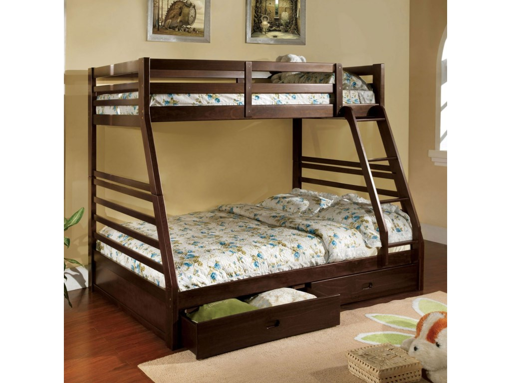 Furniture of America California IIITwin-over-Full Bunk Bed with 2 Drawers