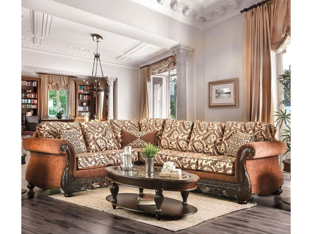 America Candra Traditional Two Tone Sectional Sofa With Ornate Carved Wood Trim