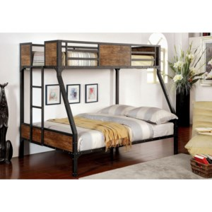 Clapton Industrial Wood And Metal Twin Over Full Bunk Bed Household Furniture Bunk Beds