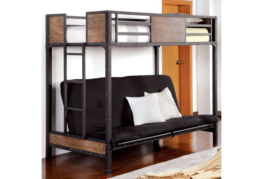 Wood And Metal Twin Loft Bunk Bed