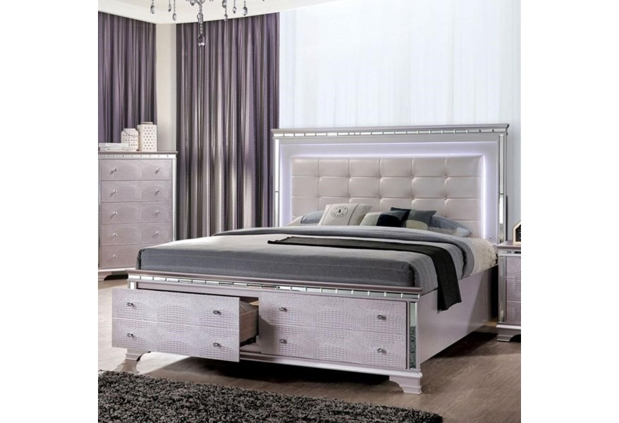 Claudette Glam California King Size Bed