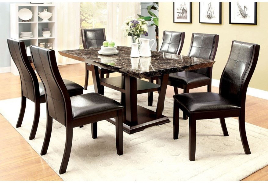Furniture Of America Clayton I Cm3933t Table Contemporary Rectangular Dining Table With Faux Marble Top Corner Furniture Dining Tables