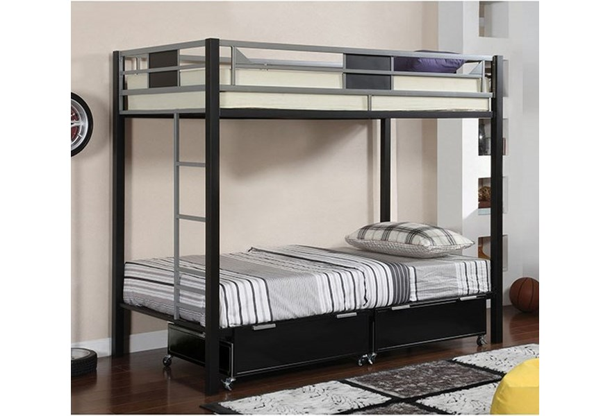 Furniture Of America Clifton Metal Twin Over Twin Bunk Bed Dream