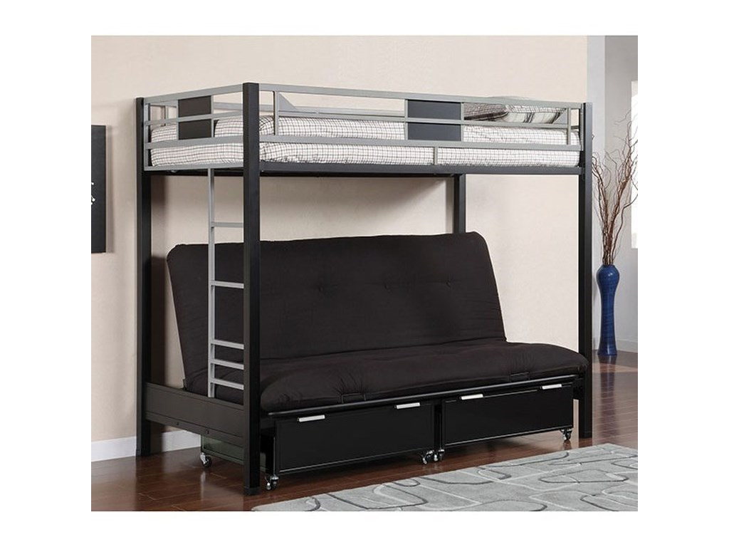 Twin Loft Bed.Clifton Metal Twin Loft Bed With Futon Base By America At Del Sol Furniture