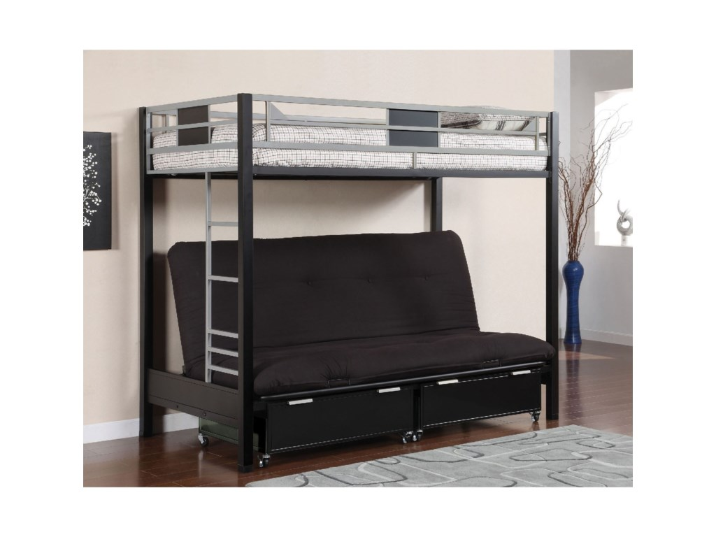 Clifton Metal Twin Loft Bed With Futon Base By Furniture Of America At Rooms For Less