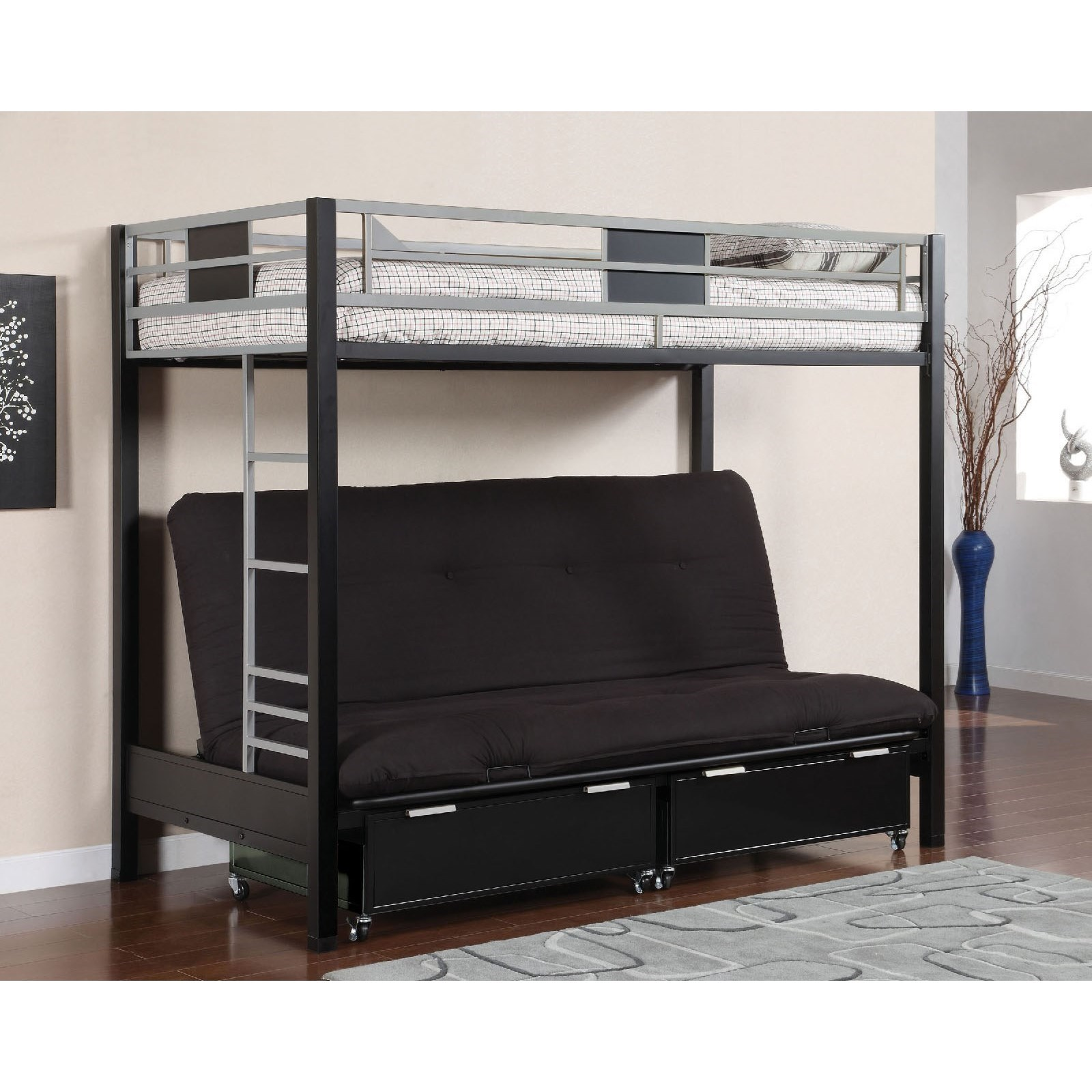 ... Furniture Of America CliftonTwin Loft Bed With Futon Base ...