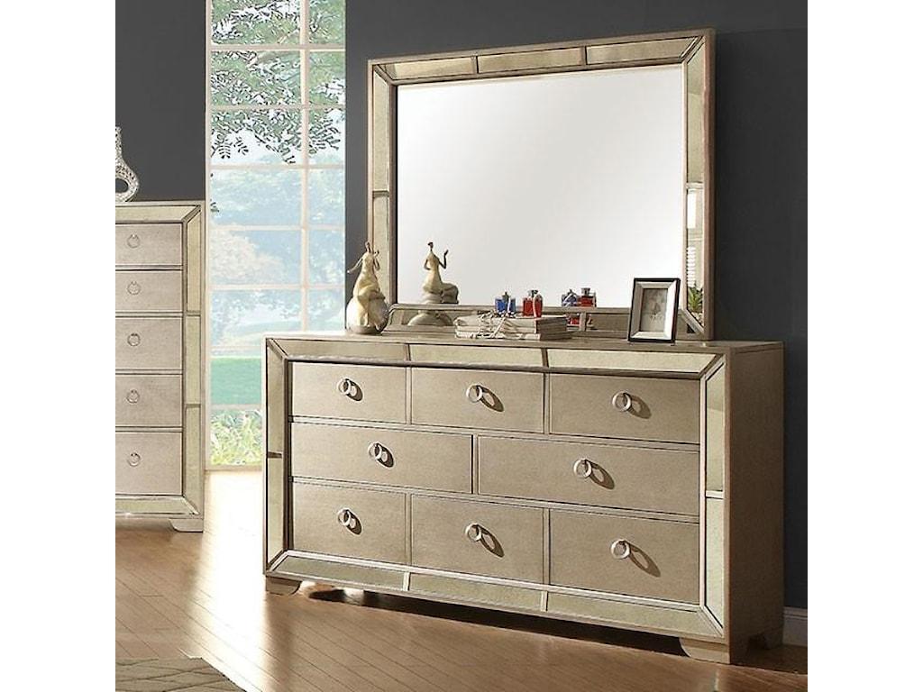 Loraine Modern Victorian Dresser Mirror W Antique Panels By Furniture Of America