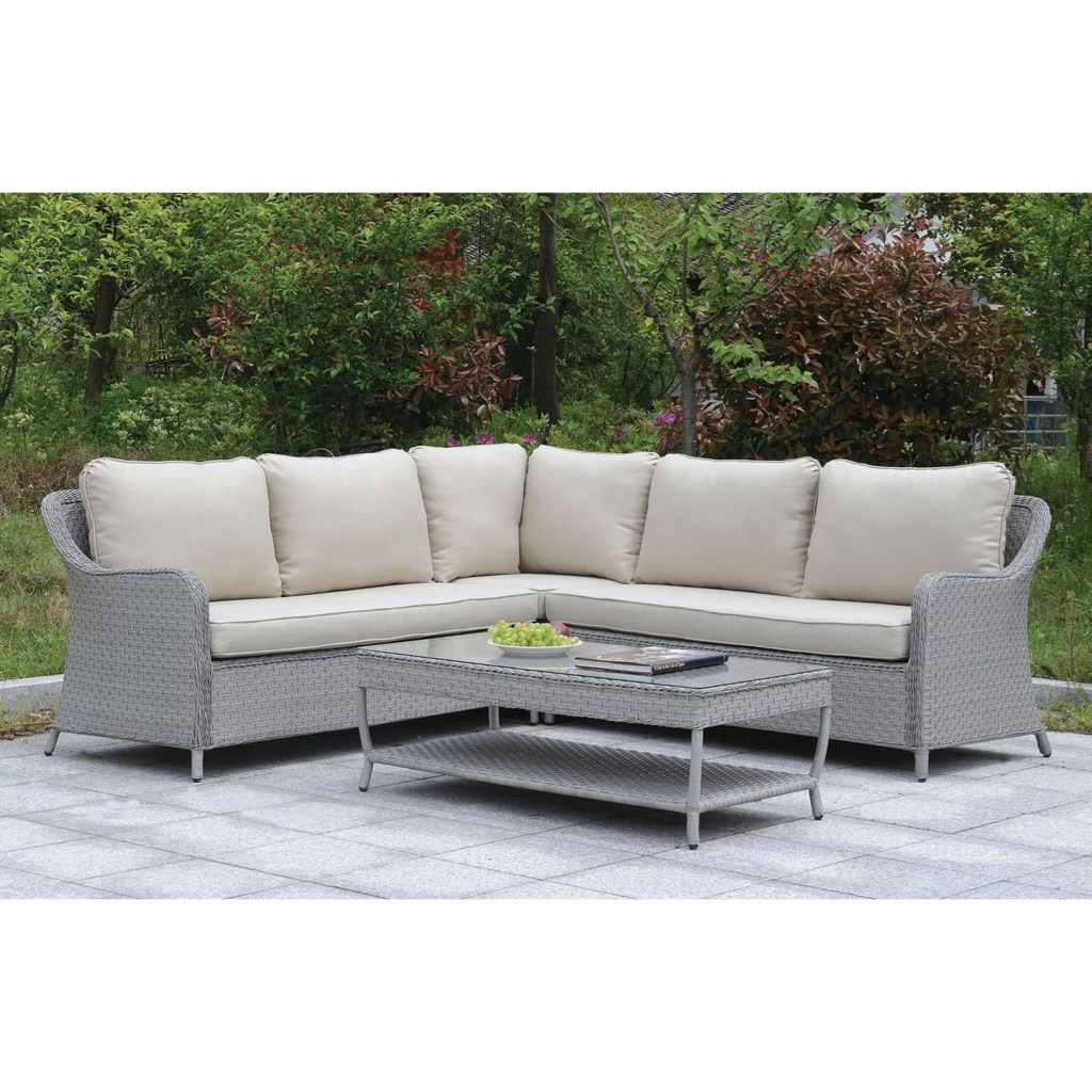 Furniture Of America Cogswell Gray Wicker Patio Sectional Sofa Set