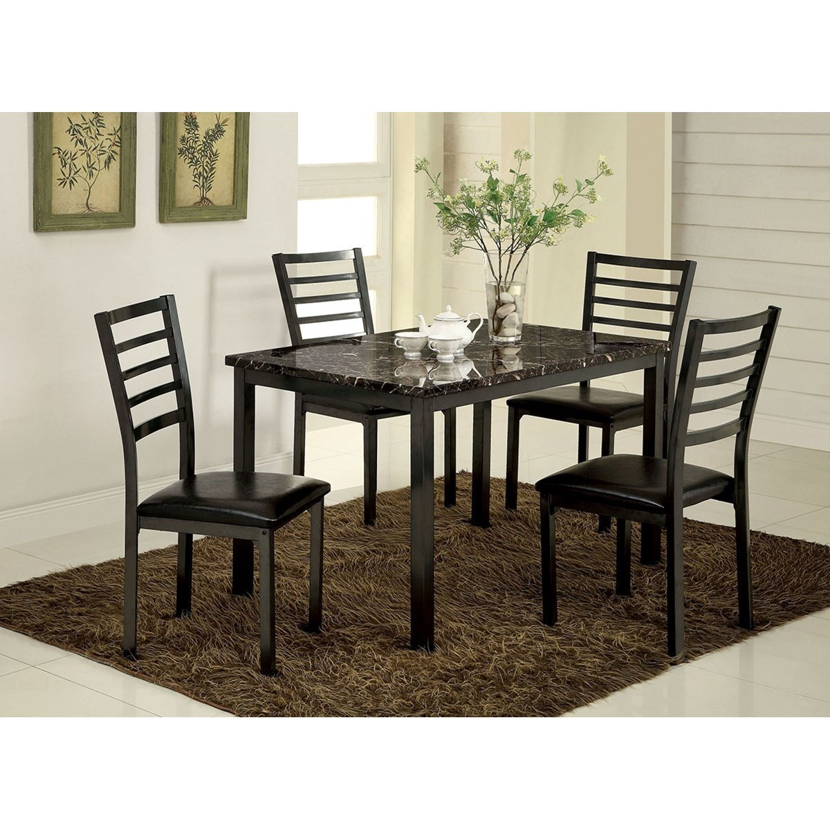 Furniture Of America ColmanTable + 4 Assembled Chairs ...