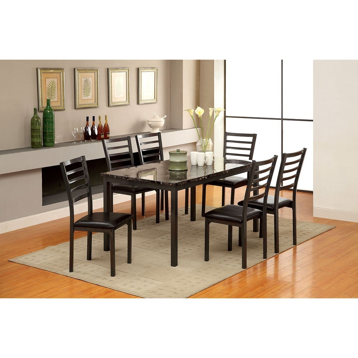 Furniture Of America Colman Table + 6 Assembled Chairs