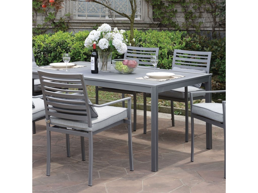 Colome Rectangular Aluminum Patio Dining Table With Umbrella Hole By America At Del Sol Furniture