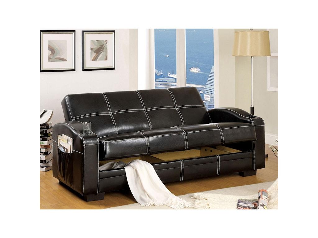 Furniture of America Colona CM2690 Leatherette Futon Sofa ...