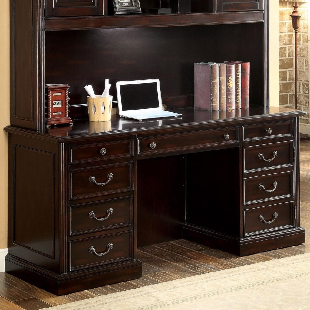 Furniture of america coolidge transitional credenza desk with power outlets and file storage
