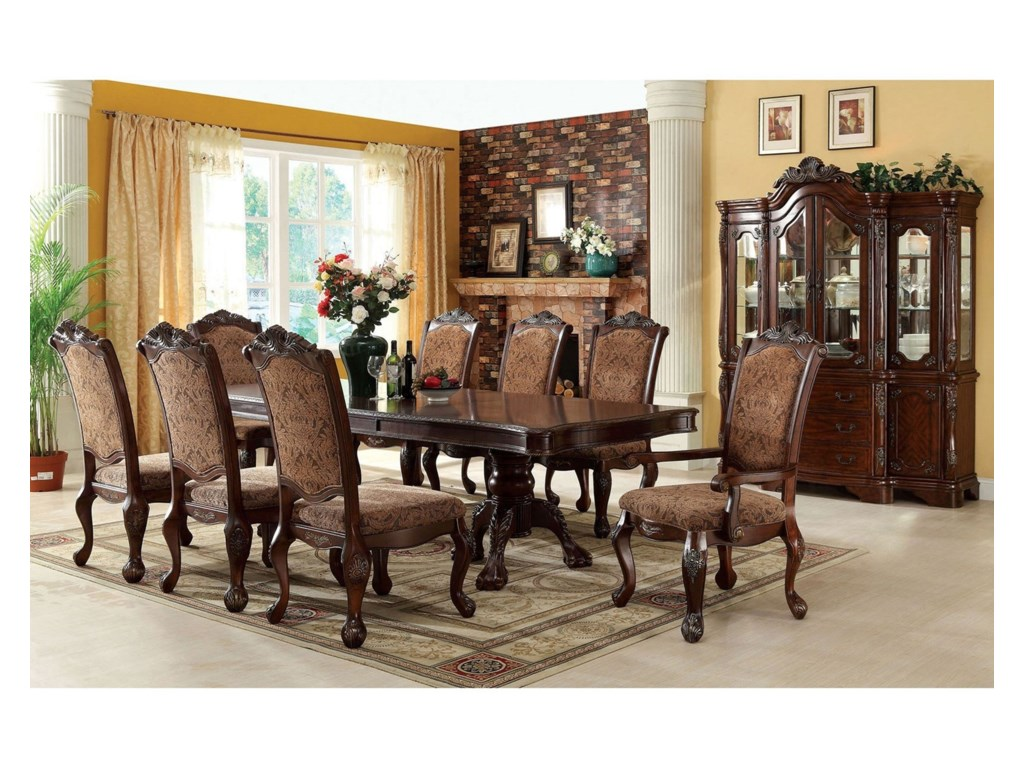 Furniture of America Cromwell 9 Piece Traditional Dining Set | Rooms ...