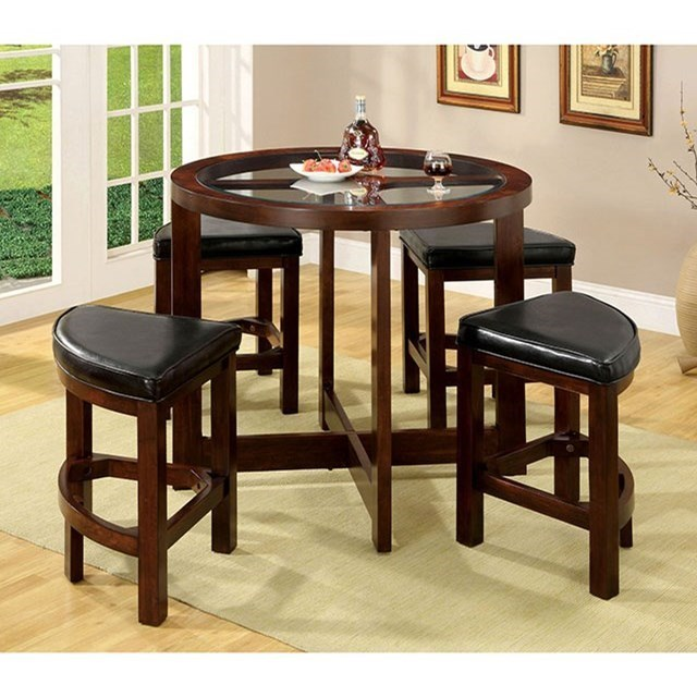 Glass Top Counter Height Dining Table Set