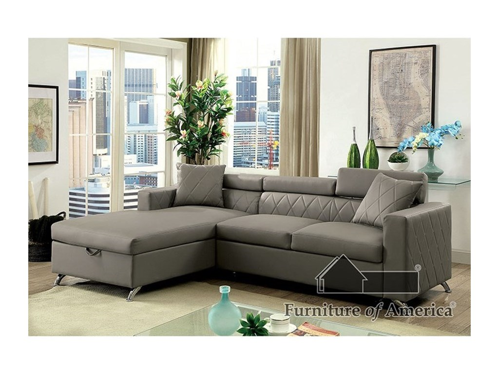 Dayna Contemporary Sofa Sectional with Storage Chaise by Furniture of  America at Rooms for Less