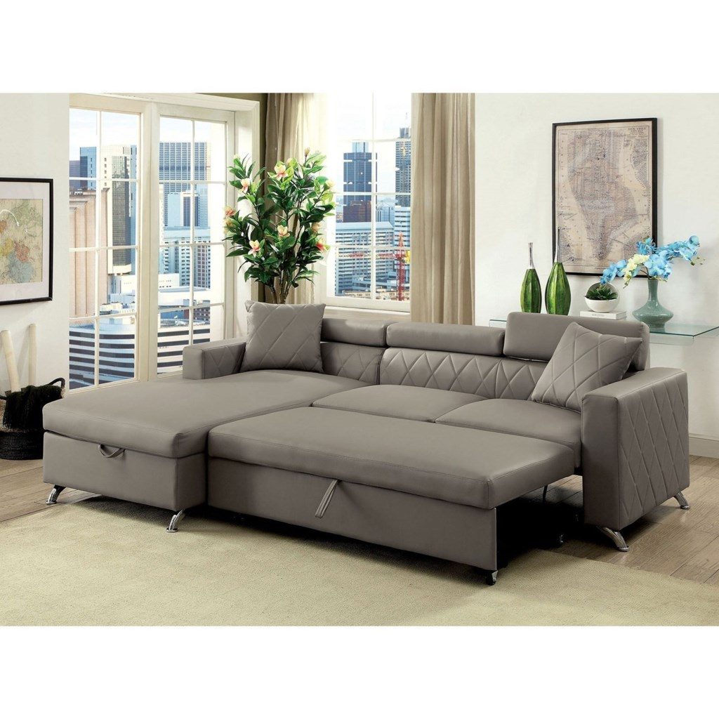 Furniture Of America Dayna Contemporary Sofa Sectional With Storage