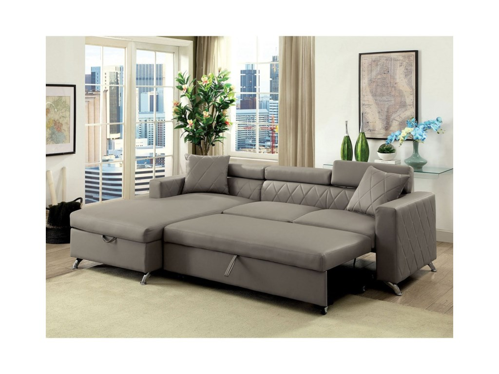Furniture of America Dayna Contemporary Sofa Sectional with Storage ...