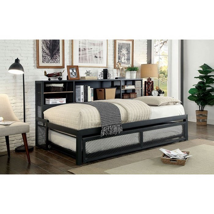 America Debra Cm1021 Modern Industrial Twin Trundle Daybed