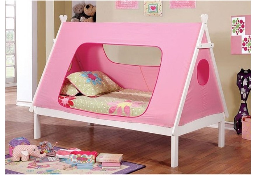 Furniture Of America Debra Twin Bed With Teepee Inspired Tent Canopy Dream Home Interiors Canopy Beds