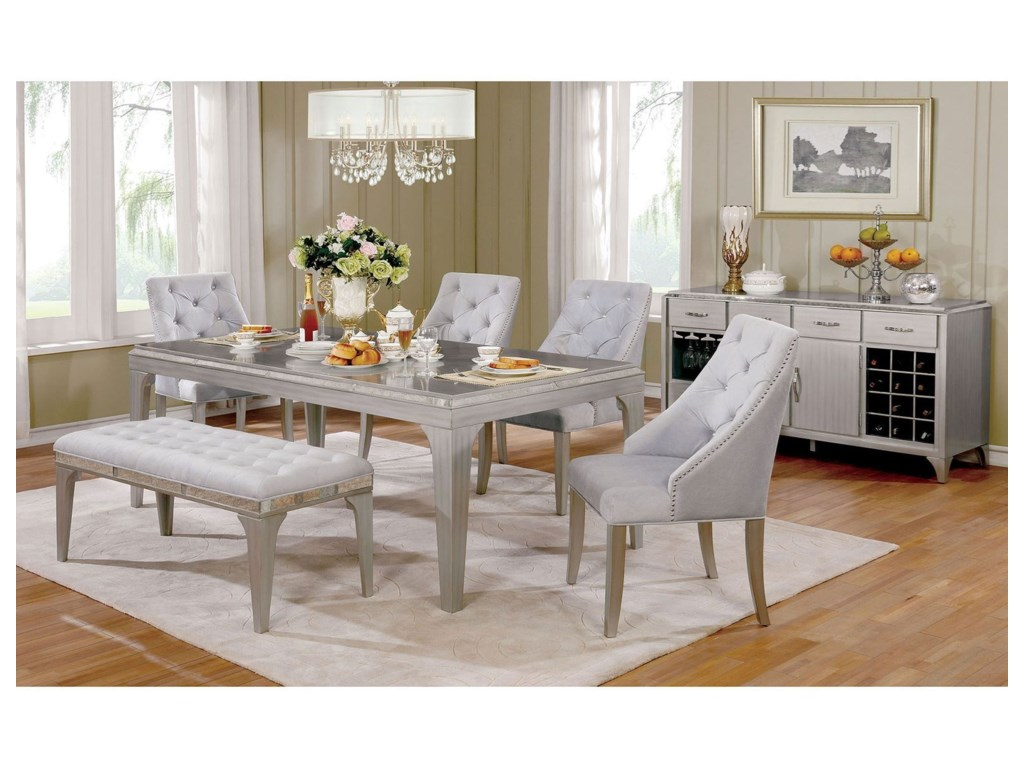 Diocles Glam Silver Dining Table + 4 Chairs + Bench by Furniture of America  at Rooms for Less
