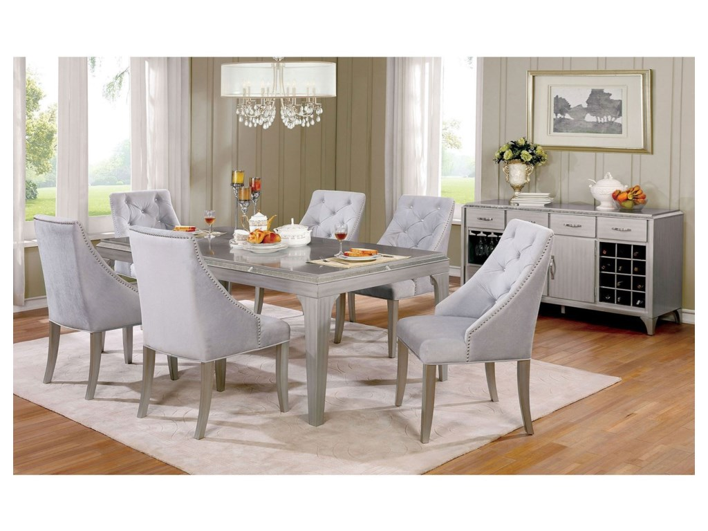 Furniture Of America Diocles Glam Silver Seven Piece Dining Table