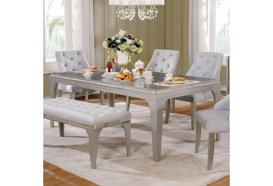 Diocles Glam Silver Dining Table With Antique Mirror Trim Household Furniture Dining Tables