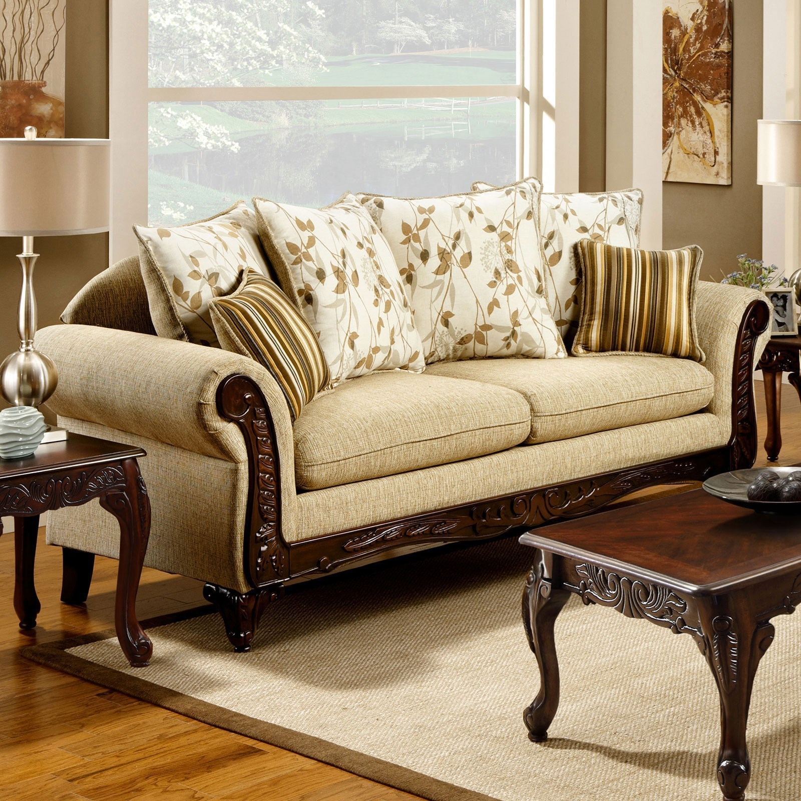 america doncaster sm7435 sf traditional sofa with decorative wood rh delsolfurniture com antique sofa with wood trim ashley sofa with wood trim
