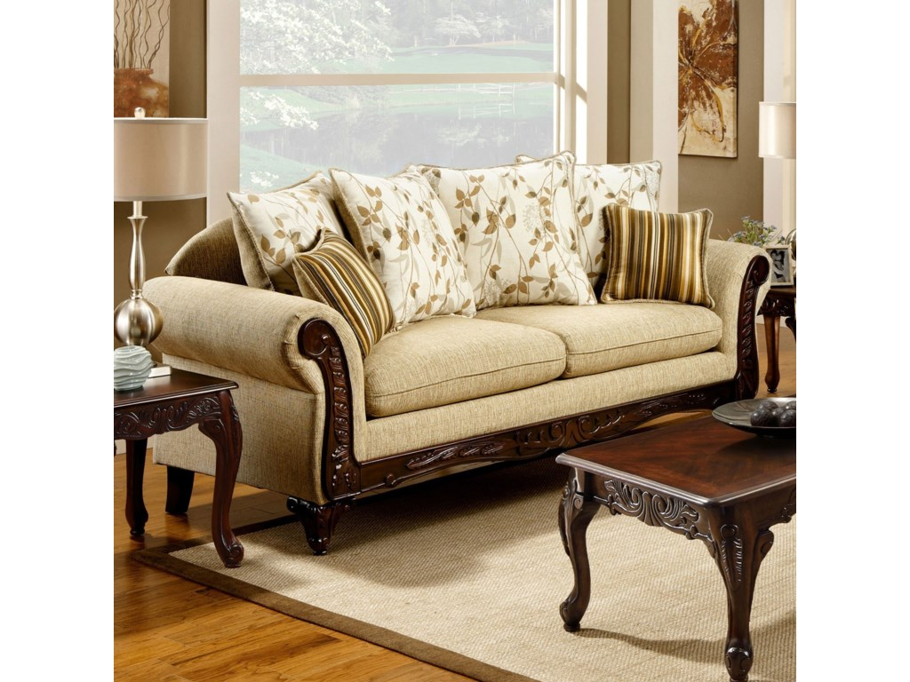 Furniture Of America Doncaster Traditional Sofa With Decorative Wood Trim