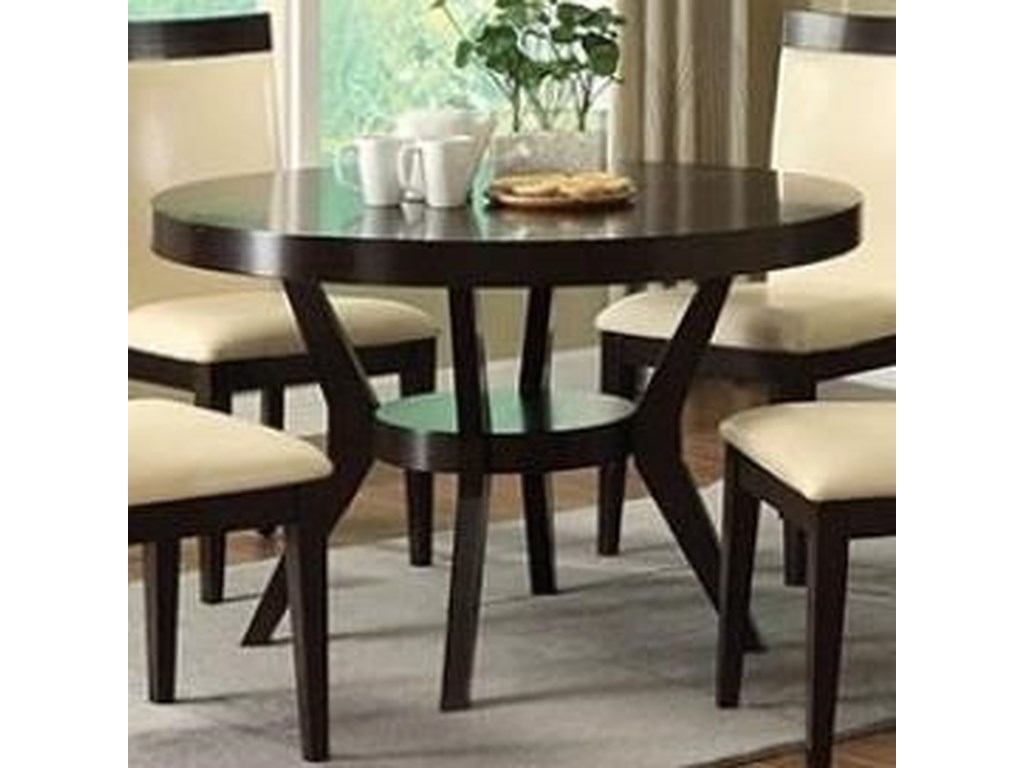 Downtown I Contemporary Round Dining Table with Shelf by Furniture of  America at Rooms for Less