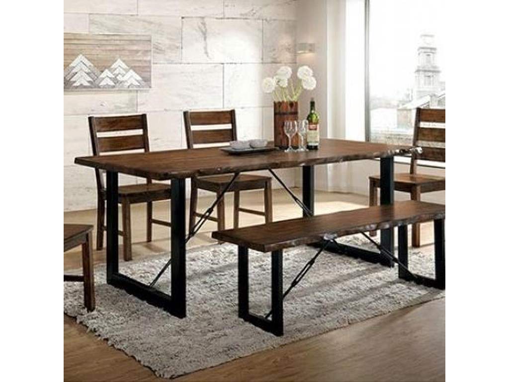Dulce Industrial Dining Table with Metal Legs by Furniture of America at  Rooms for Less