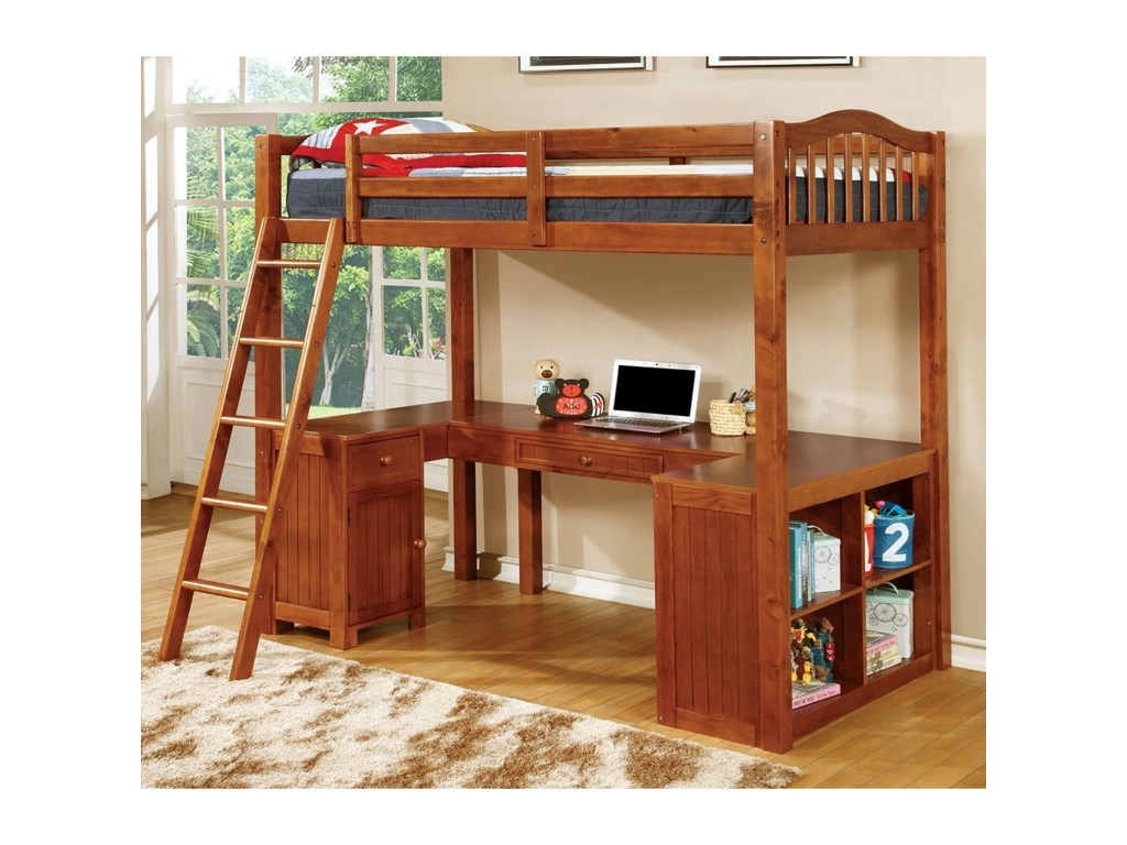 Dutton Twin Youth Loft Bed With Desk And Storage Household