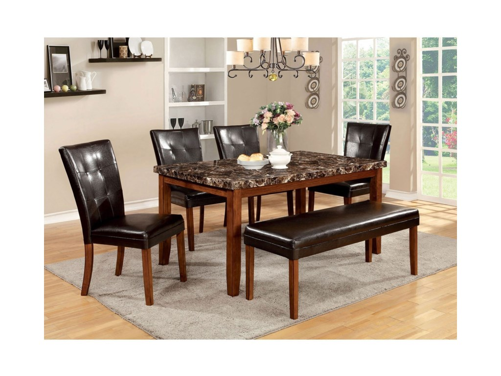 Furniture of America ElmoreTable + 4 Side Chairs + Bench