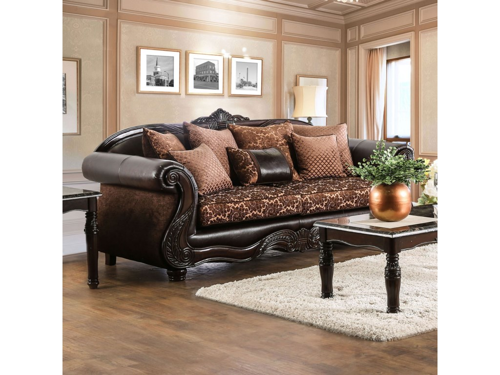 Elpis Traditional Fabric and Faux Leather Sofa with Ornate Carved Wood by  Furniture of America at Rooms for Less