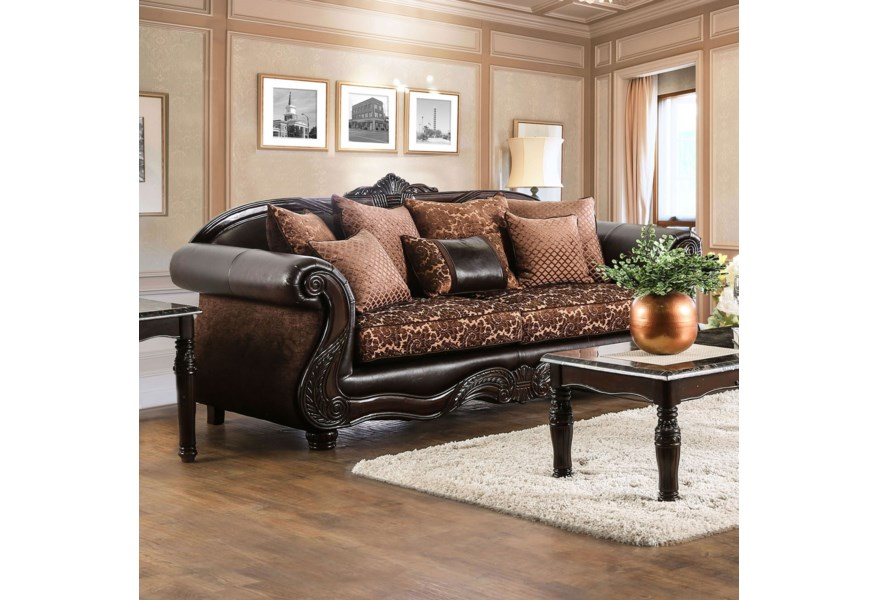 Faux Leather Sofa With Ornate Carved