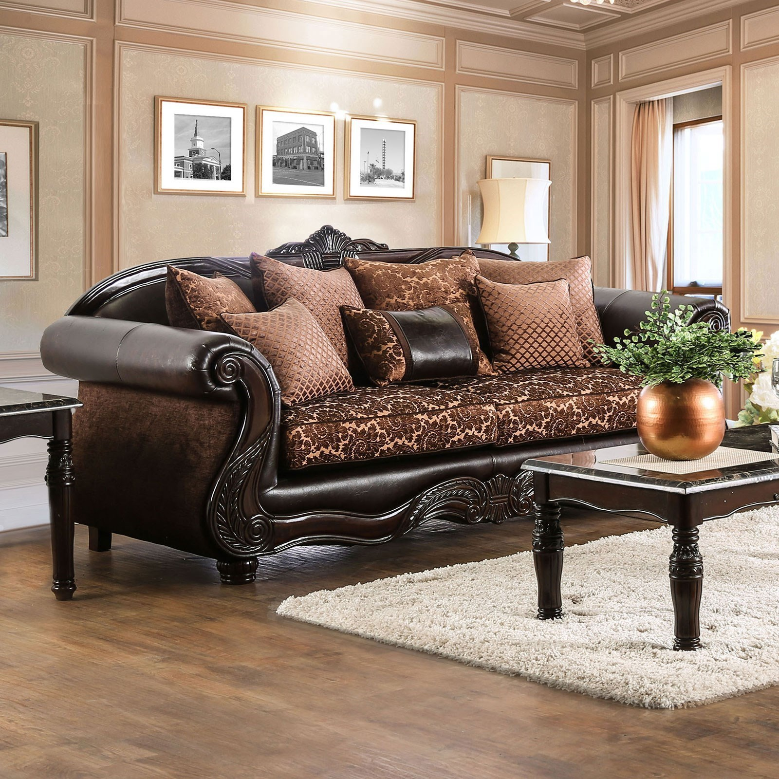 Elpis Traditional Fabric And Faux Leather Sofa With Ornate Carved Wood By  Furniture Of America