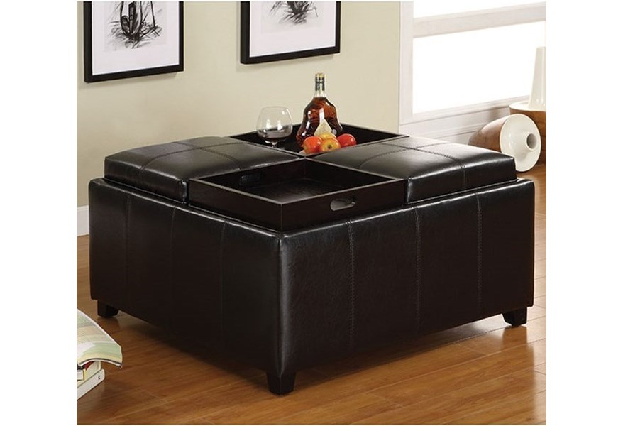 Furniture Of America Elvina Cm4044 Tray Top Storage Ottoman