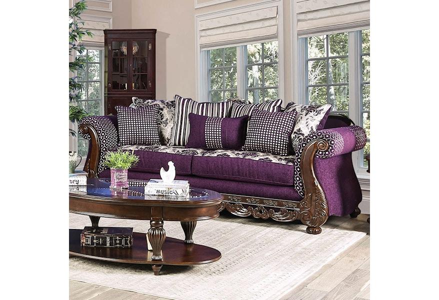 Sofa With Ornate Wood Trim