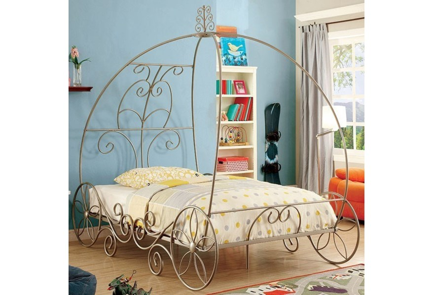 Princess Carriage Metal Canopy Bed