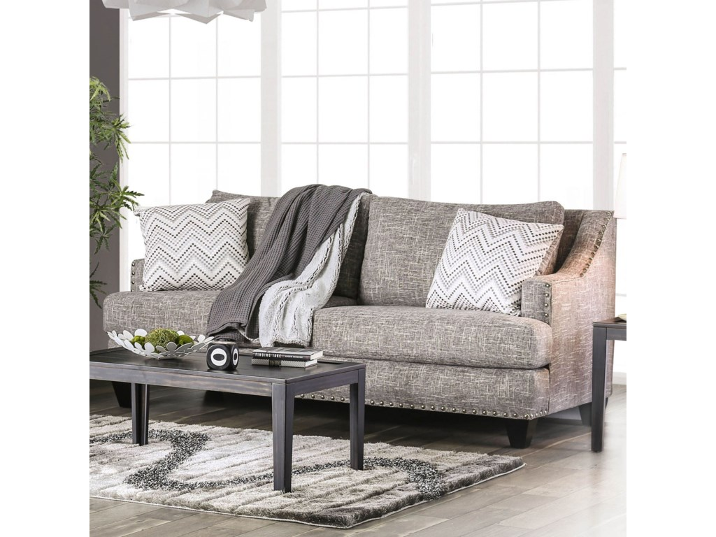 Erika Contemporary Sofa with Sloped Arms and Nailhead Trim by Furniture of  America at Rooms for Less