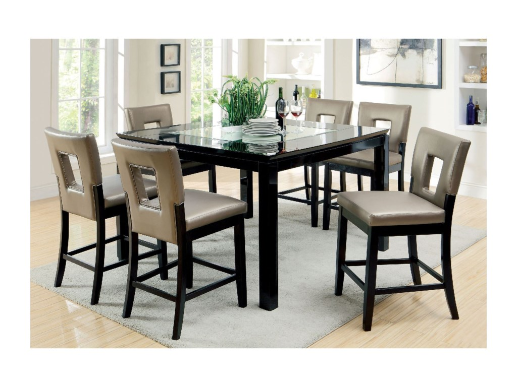 Furniture of America Evant IICounter Height Table Set with Six Chairs